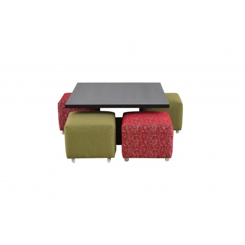 Shagam Coffee Table with four Side Poufs