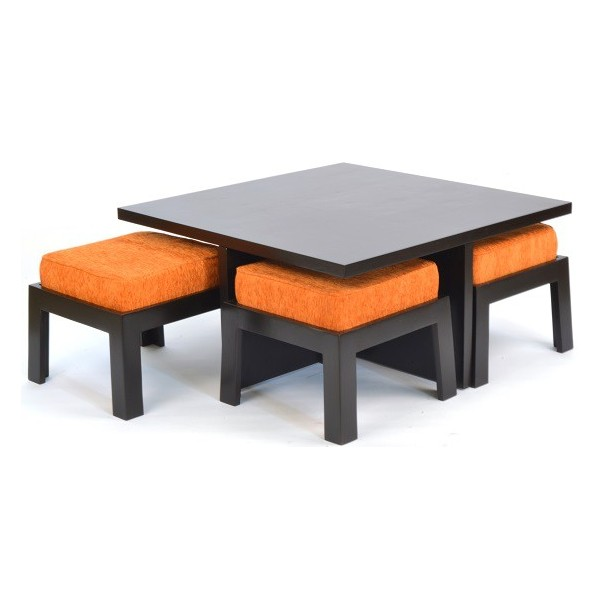 Genial Safron Coffee Table With Four Stools ...