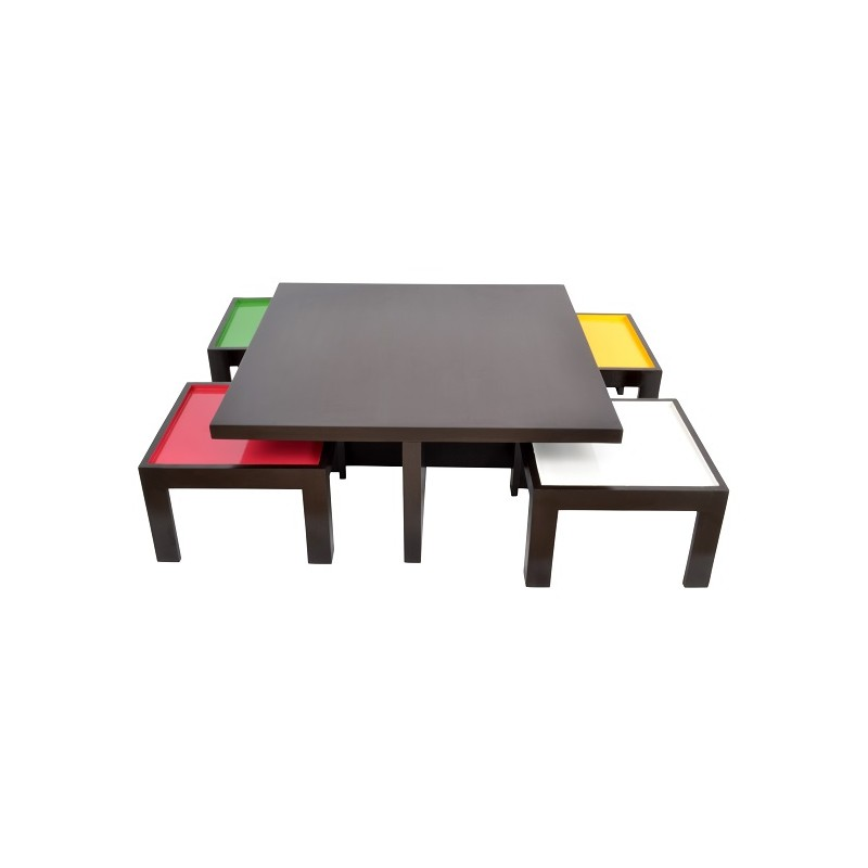 Safron Ludo Coffee Table With Four Side Stools Skarabrand